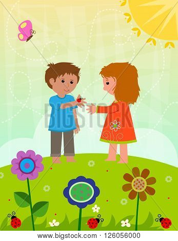 Boy and a girl are holding a ladybug, standing on a hill with flowers. Eps10