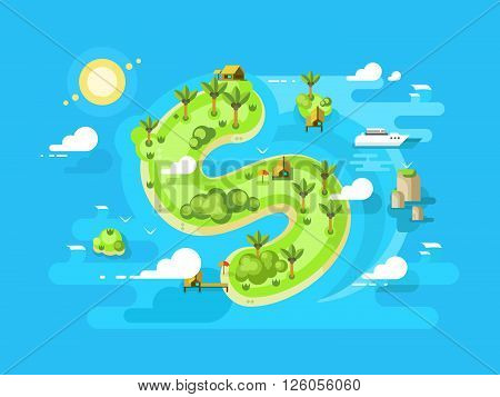 Island offshore design. Beach sea, finance tax, fraud with income. Vector illustration