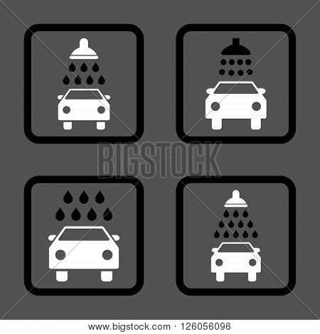 Carwash vector bicolor icon. Image style is a flat icon symbol inside a square rounded frame, black and white colors, gray background.