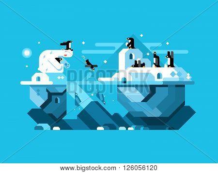 Arctic polar bear with penguins. Mammal in nature, north wildlife, winter and snow. Vector illustration