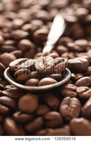 Brown coffee beans in silver spoon closeup macro shot selective focus vertical