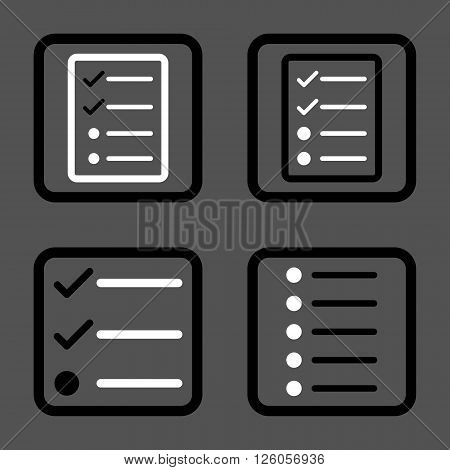 List Items vector bicolor icon. Image style is a flat icon symbol inside a square rounded frame, black and white colors, gray background.
