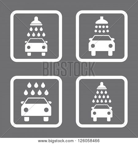 Carwash vector icon. Image style is a flat icon symbol inside a square rounded frame, white color, gray background.