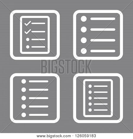 List Items vector icon. Image style is a flat icon symbol inside a square rounded frame, white color, gray background.