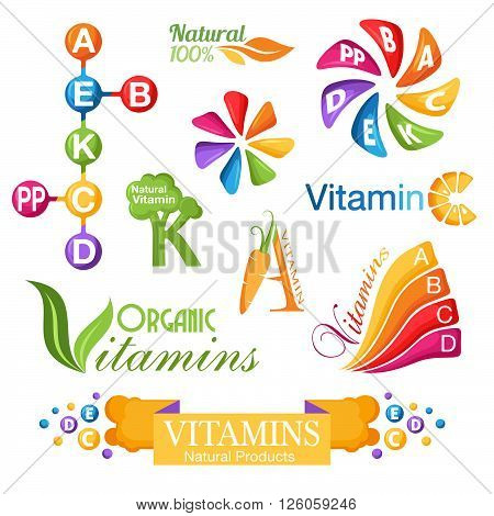 Vitamins symbols emblems and icons for design