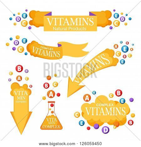 Vitamins banners set. Frame ribbons and design elements with vitamins icons.