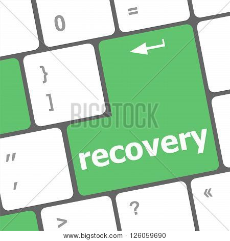 recovery text on the keyboard key close up