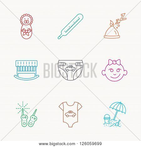 Newborn clothes, diapers and sleep hat icons. Thermometer, baby girl and cradle linear signs. Beach games, monitoring flat line icons. Linear colored icons.