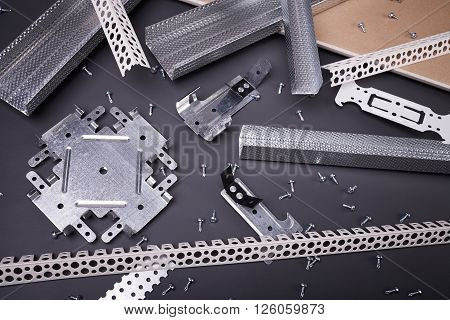 Profile for plasterboard, gypsum board, plasterboard fastening, set of building profiles, building materials, steel profiles for repair, construction works, screws for construction, plastic profile