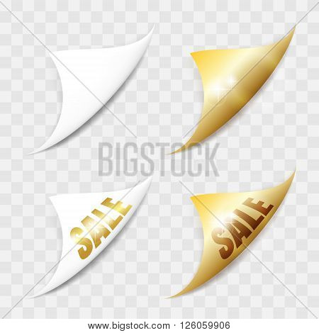 White and gold paper stickers. Set of page curls with shadow. Elements for advertising and promotional isolated on transparent background.
