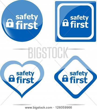 Secure Lock Sign Label, Safety First Icon Button