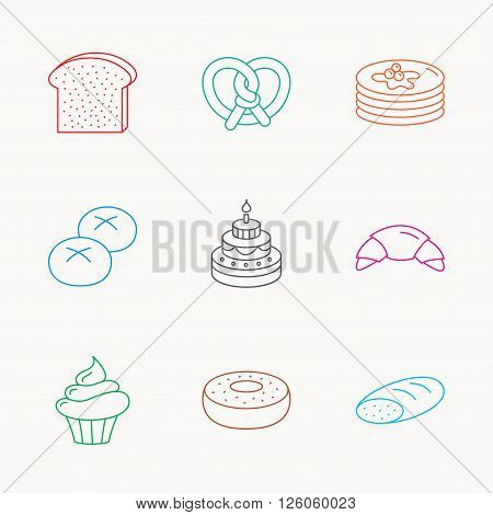 Croissant, pretzel and bread icons. Cupcake, cake and sweet donut linear signs. Pancakes, toast and bread rolls flat line icons. Linear colored icons.