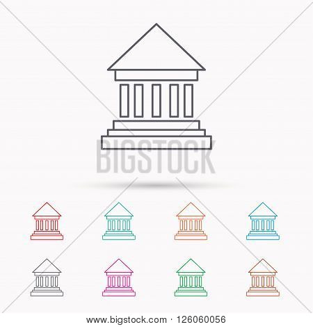 Bank icon. Court house sign. Money investment symbol. Linear icons on white background.