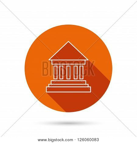 Bank icon. Court house sign. Money investment symbol. Round orange web button with shadow.