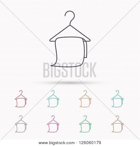 Bath towel icon. Cleaning service sign. Bathroom hanger symbol. Linear icons on white background.