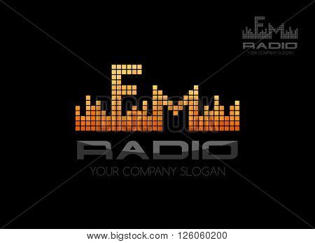 Radio fm logo. Music equalizer emblem template