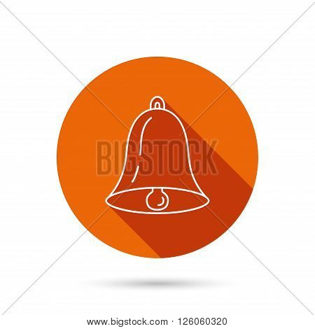 Bell icon. Sound sign. Alarm handbell symbol. Round orange web button with shadow.