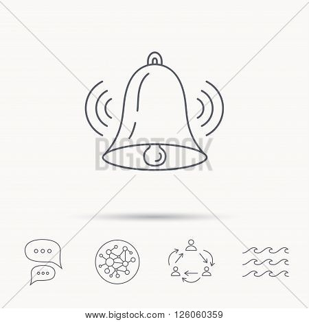 Ringing bell icon. Sound sign. Alarm handbell symbol. Global connect network, ocean wave and chat dialog icons. Teamwork symbol.