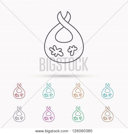 Bib with dirty spots icon. Baby clothes sign. Feeding wear symbol. Linear icons on white background.