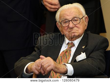 PRAGUE CZECH REPUBLIC January 21. 2011: Sir Nicholas Winton on January 21. 2011 in Prague Czech republic