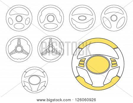 Set of car steering wheel vector icons. Automobile steering wheel icons in thin line style. EPS8 vector.