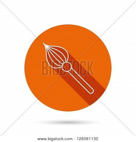 Brush icon. Paintbrush tool sign. Artist instrument symbol. Round orange web button with shadow.