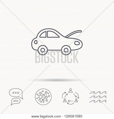 Car repair icon. Mechanic service sign. Global connect network, ocean wave and chat dialog icons. Teamwork symbol.