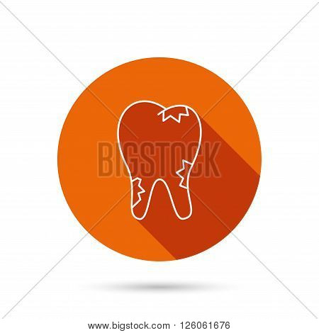 Caries icon. Tooth health sign. Round orange web button with shadow.