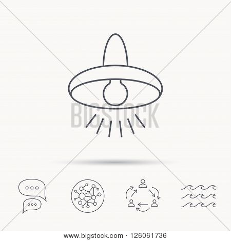 Ceiling lamp icon. Light illumination sign. Global connect network, ocean wave and chat dialog icons. Teamwork symbol.