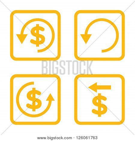 Chargeback vector icon. Image style is a flat icon symbol inside a square rounded frame, yellow color, white background.