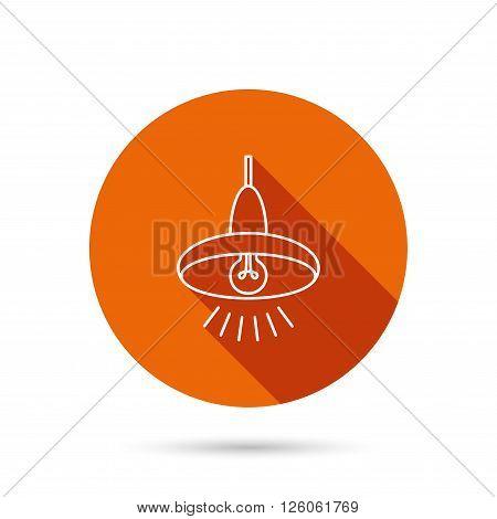 Ceiling lamp icon. Light illumination sign. Round orange web button with shadow.