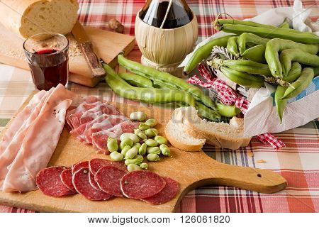 Trattoria table with cold meats and broad bean
