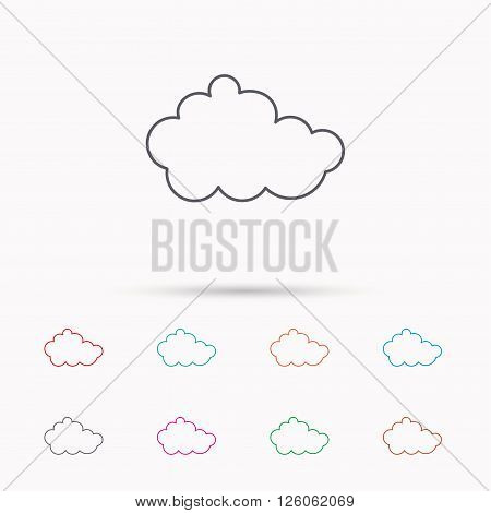Cloud icon. Overcast weather sign. Meteorology symbol. Linear icons on white background.