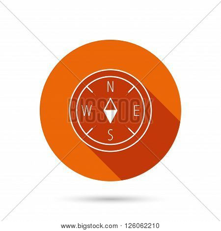 Compass navigation icon. Geographical orientation sign Round orange web button with shadow.