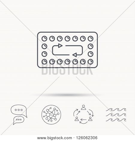 Contraception pills icon. Pharmacology drugs sign. Global connect network, ocean wave and chat dialog icons. Teamwork symbol.