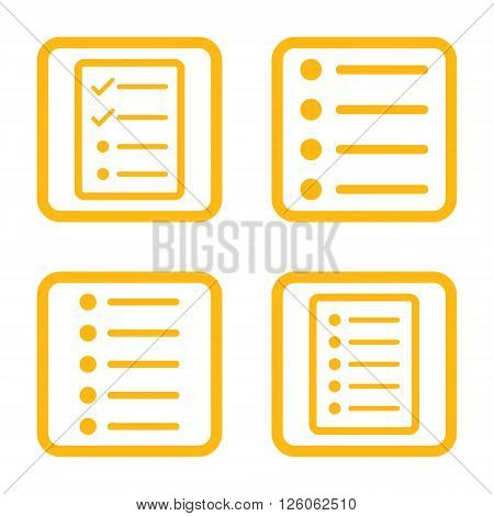 List Items vector icon. Image style is a flat icon symbol inside a square rounded frame, yellow color, white background.