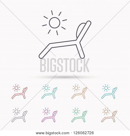 Deck chair icon. Beach chaise longue sign. Linear icons on white background.