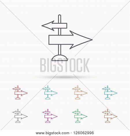 Direction arrows icon. Destination way sign. Travel guide symbol. Linear icons on white background.