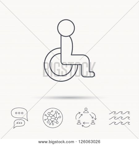 Disabled person icon. Human on wheelchair sign. Patient transportation symbol. Global connect network, ocean wave and chat dialog icons. Teamwork symbol.