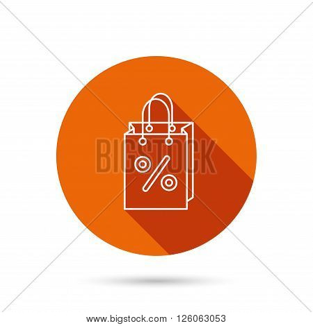 Shopping bag icon. Sale and discounts sign. Supermarket handbag symbol. Round orange web button with shadow.