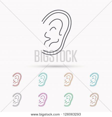 Ear icon. Hear or listen sign. Deaf human symbol. Linear icons on white background.