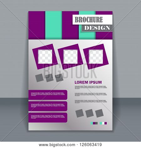 Vector vertical flyer template for design. Editable A4 poster for business,  magazine cover. Green and purple colors.