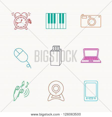 Photo camera, USB flash and notebook laptop icons. PC mouse, alarm clock and web camera linear signs. Tablet PC and music headphones icons. Linear colored icons.