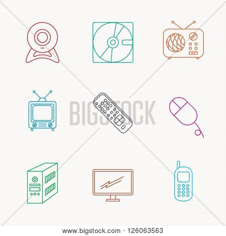 Web camera, radio and mobile phone icons. Monitor, PC case and TV remote linear signs. Hard disk and PC mouse icons. Linear colored icons.