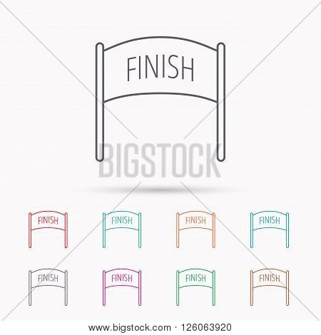 Finish banner icon. Marathon checkpoint sign. Linear icons on white background.