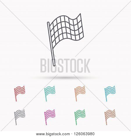 Finish flag icon. Start race sign. Linear icons on white background.