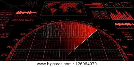 Red radar screen with futuristic user interface HUD and digital world map. Infographic design elements. Vector illustration.