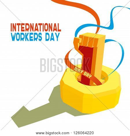 1 May International Worker's Day. May first labor day. Poster, banner or flyer design with stylish text 1st May on blue background, concept for labours day. vector illustration