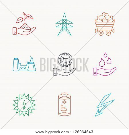 Save nature, planet and water icons. Minerals, lightning and solar energy linear signs. Battery, factory and electricity station icons. Linear colored icons.