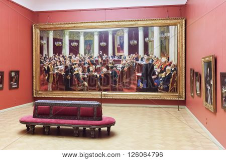 SAINT PETERSBURG, RUSSIA - APRIL 11, 2016: Room with paintings Ilya Repin Ceremonial sitting of the State Council in the State Russian museum. The museum is the largest depository of Russian fine art in St. Petersburg